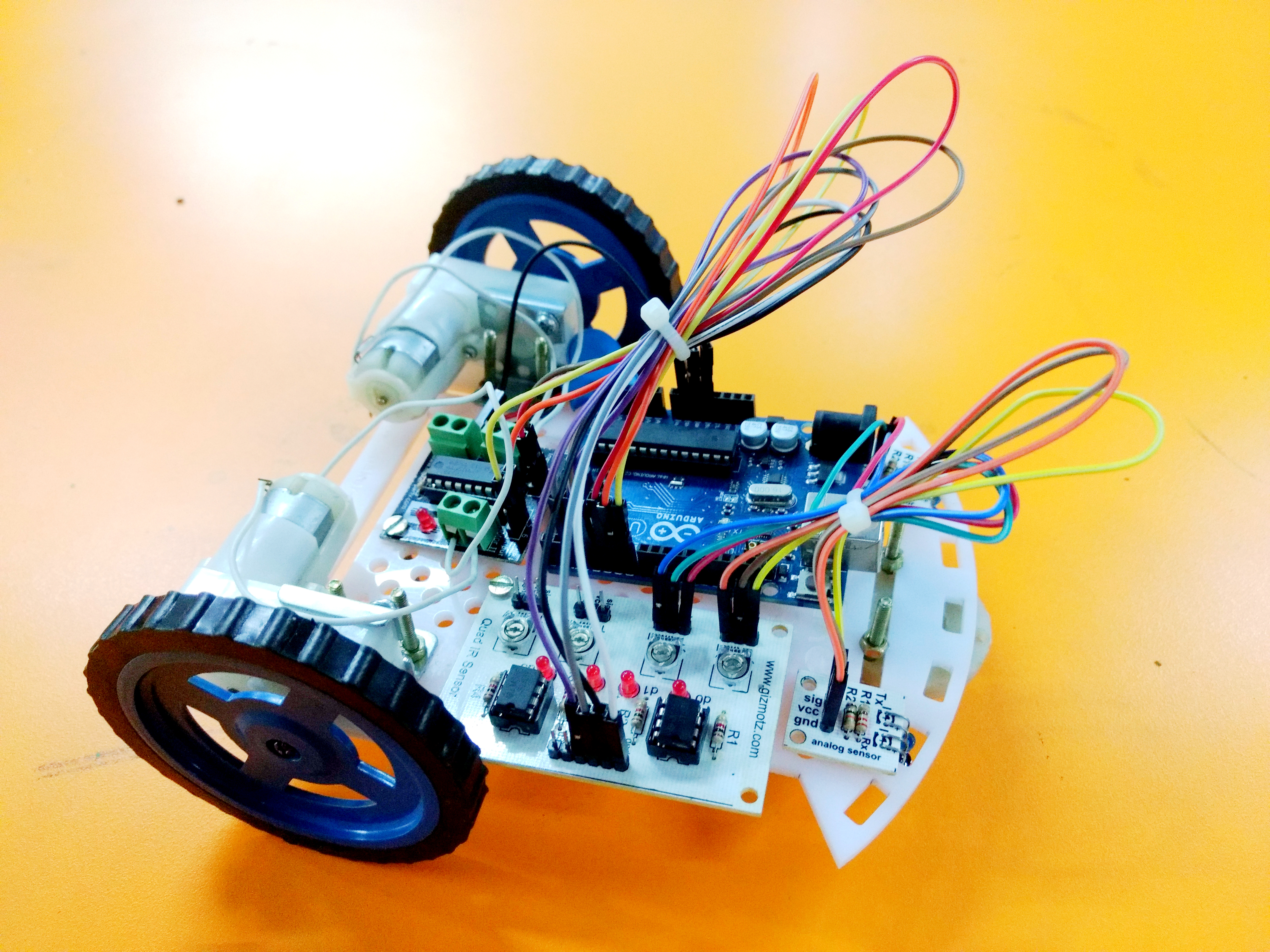 Line Follower Robot Car Michaelieclark Using Infrared Led Photodiode Ardumoto And Arduino Build Circuit Project With Code Diagram Diy